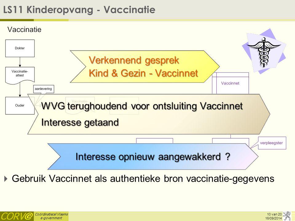 Coördinatiecel Vlaams e-government LS11 Kinderopvang - Vaccinatie   Gebruik Vaccinnet als authentieke bron vaccinatie-gegevens 16/09/2014 10 van 20