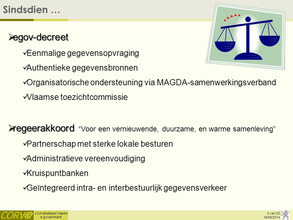 Coördinatiecel Vlaams e-government Sindsdien … 16/09/2014 3 van 20  egov-decreet Eenmalige gegevensopvraging Authentieke gegevensbronnen Organisatori