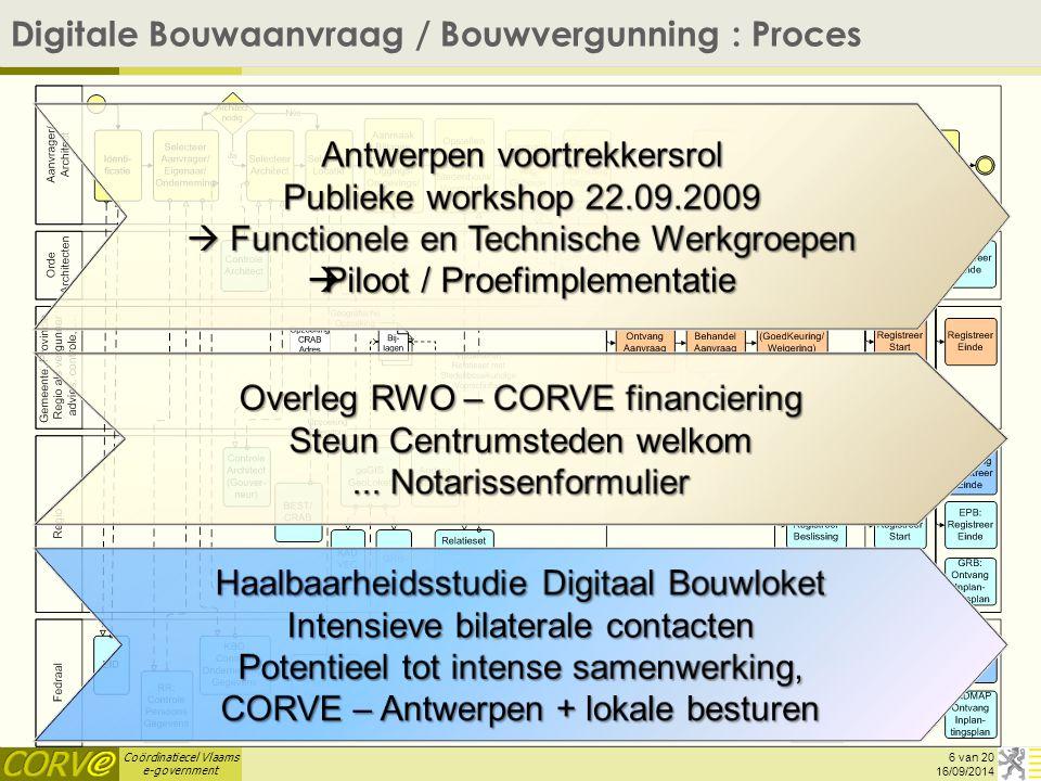 Coördinatiecel Vlaams e-government 6 van 20 Digitale Bouwaanvraag / Bouwvergunning : Proces 16/09/2014