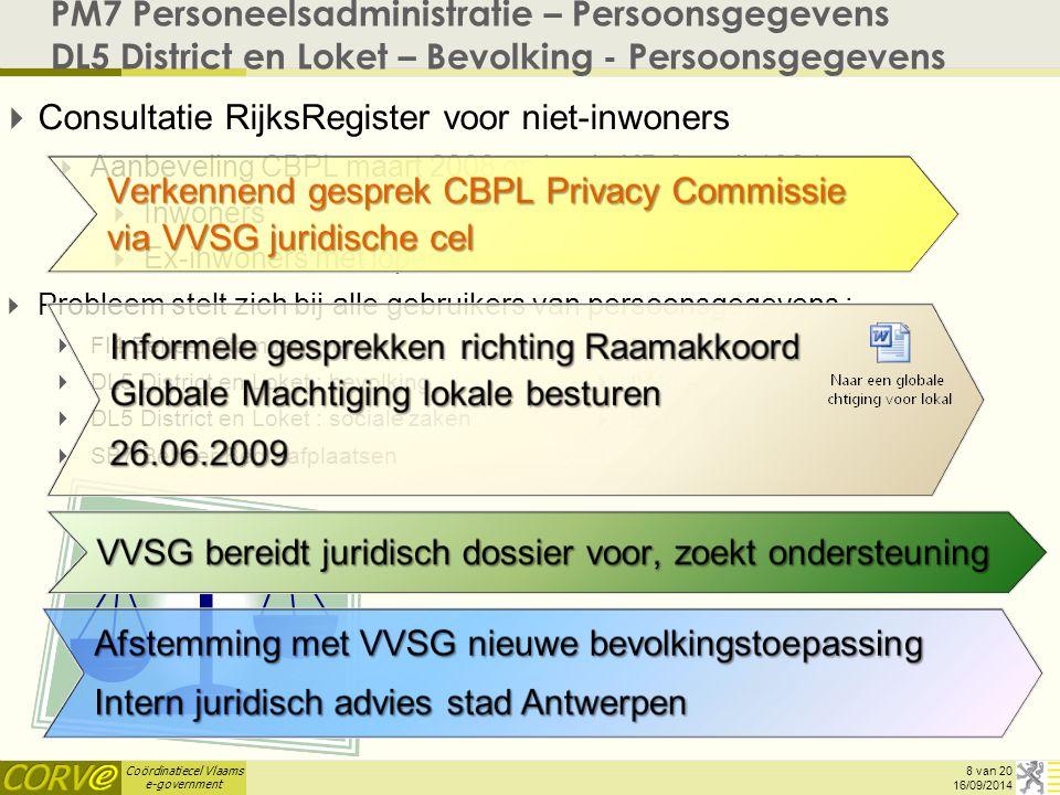 Coördinatiecel Vlaams e-government PM7 Personeelsadministratie – Persoonsgegevens DL5 District en Loket – Bevolking - Persoonsgegevens   Consultatie