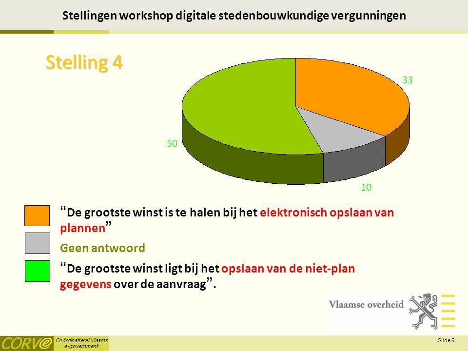 Coördinatiecel Vlaams e-government Slide 6 Stellingen workshop digitale stedenbouwkundige vergunningen Stelling 5 Het behandelen van uitzonderingen is een noodzakelijk aspect opdat ik met de applicatie zou werken Geen antwoord Starten met éé nvoudige bouwaanvragen is voldoende vergaand .