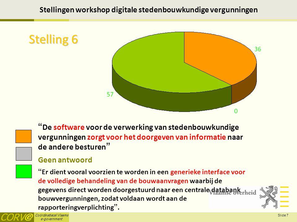 Coördinatiecel Vlaams e-government Slide 8 Stellingen workshop digitale stedenbouwkundige vergunningen Stelling 7 Elektronisch indienen door een aanvrager en architect is een absolute prioriteit Geen antwoord Gegevensuitwisseling tussen besturen verdient alle aandacht .