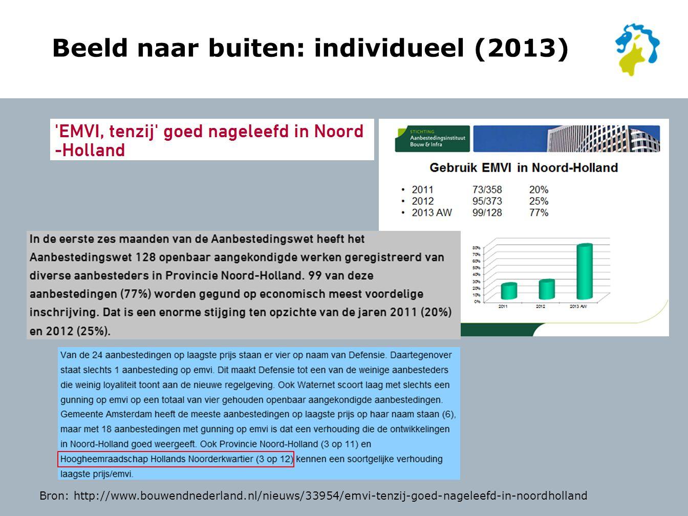 Beeld naar buiten: individueel (2013) Bron: http://www.bouwendnederland.nl/nieuws/33954/emvi-tenzij-goed-nageleefd-in-noordholland