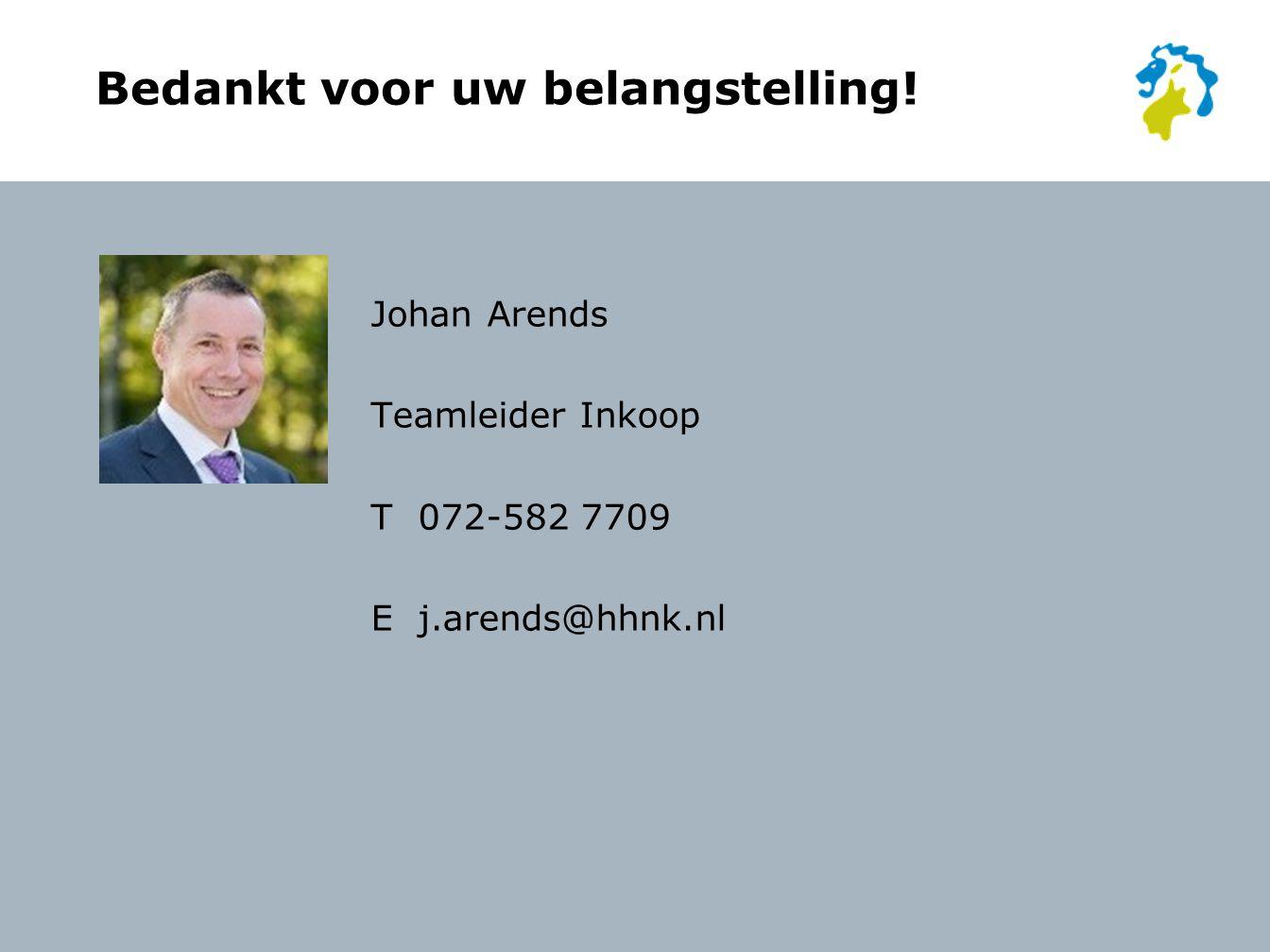 Bedankt voor uw belangstelling! Johan Arends Teamleider Inkoop T 072-582 7709 Ej.arends@hhnk.nl