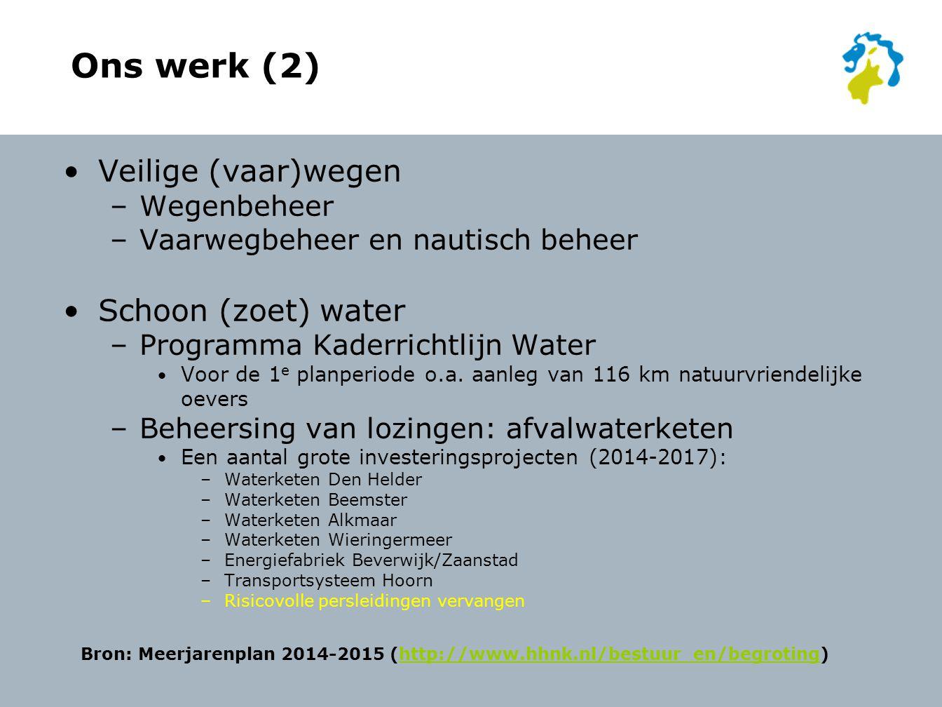 Ons werk (2) Veilige (vaar)wegen –Wegenbeheer –Vaarwegbeheer en nautisch beheer Schoon (zoet) water –Programma Kaderrichtlijn Water Voor de 1 e planperiode o.a.
