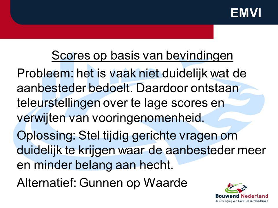 EMVI Scores op basis van bevindingen Probleem: het is vaak niet duidelijk wat de aanbesteder bedoelt. Daardoor ontstaan teleurstellingen over te lage