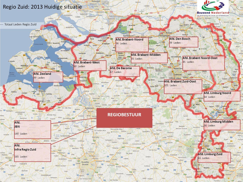 Regio Zuid: Voorgestelde wijzigingen --- Totaal Leden Regio Zuid Afd.