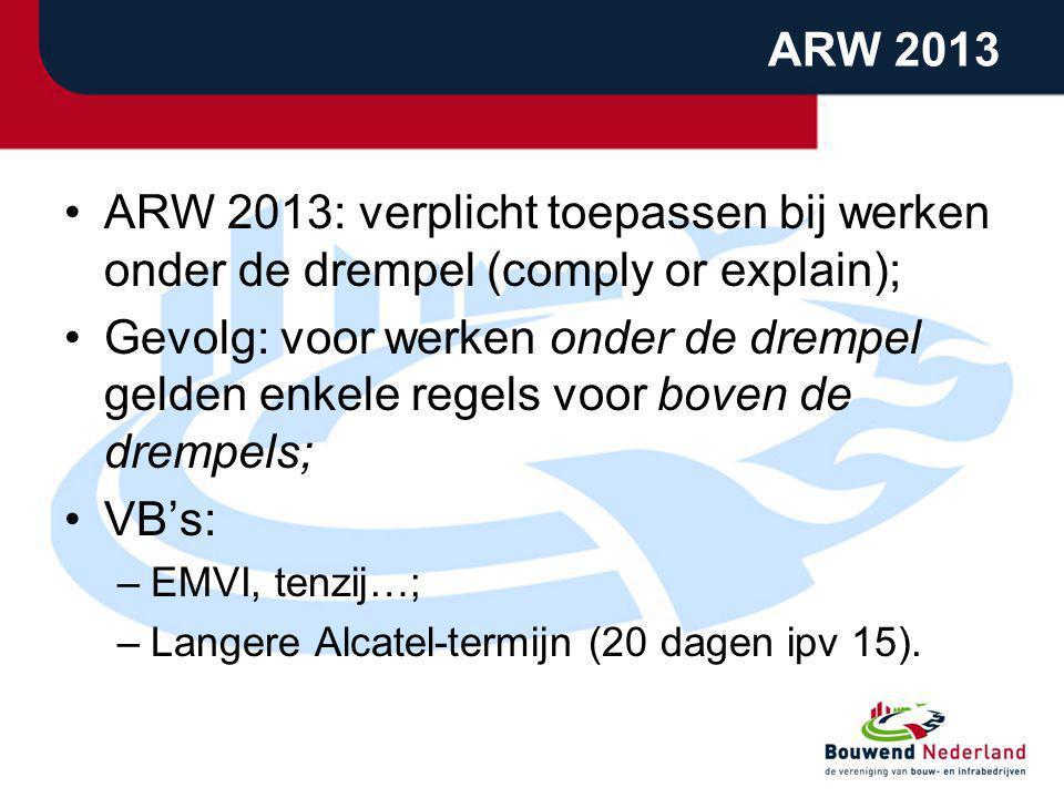 ARW 2013 ARW 2013: verplicht toepassen bij werken onder de drempel (comply or explain); Gevolg: voor werken onder de drempel gelden enkele regels voor