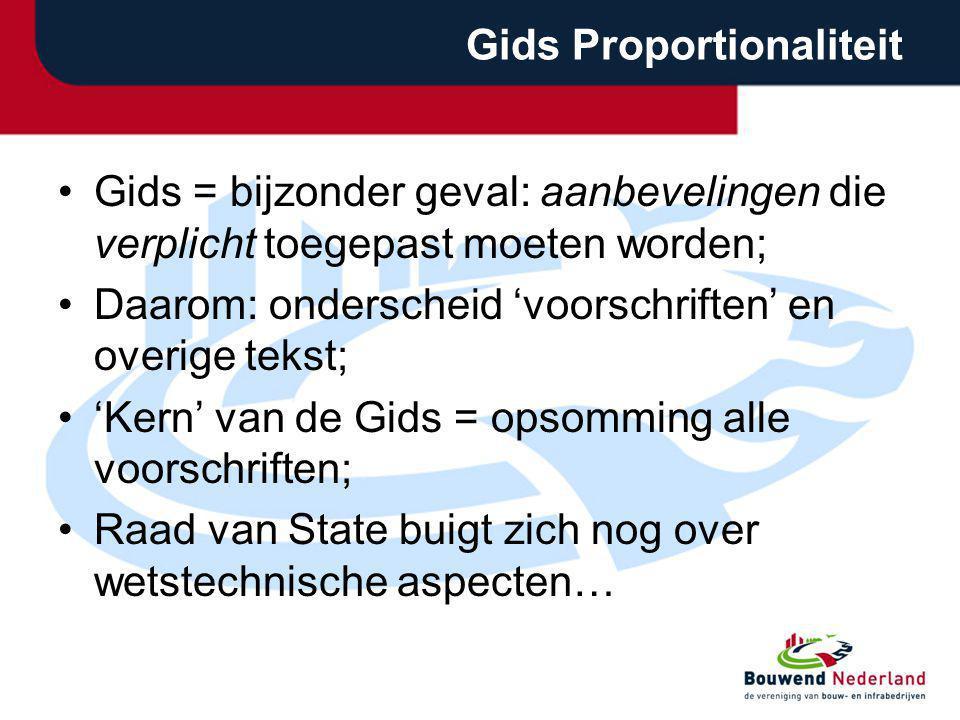 Gids Proportionaliteit Gids = bijzonder geval: aanbevelingen die verplicht toegepast moeten worden; Daarom: onderscheid 'voorschriften' en overige tek