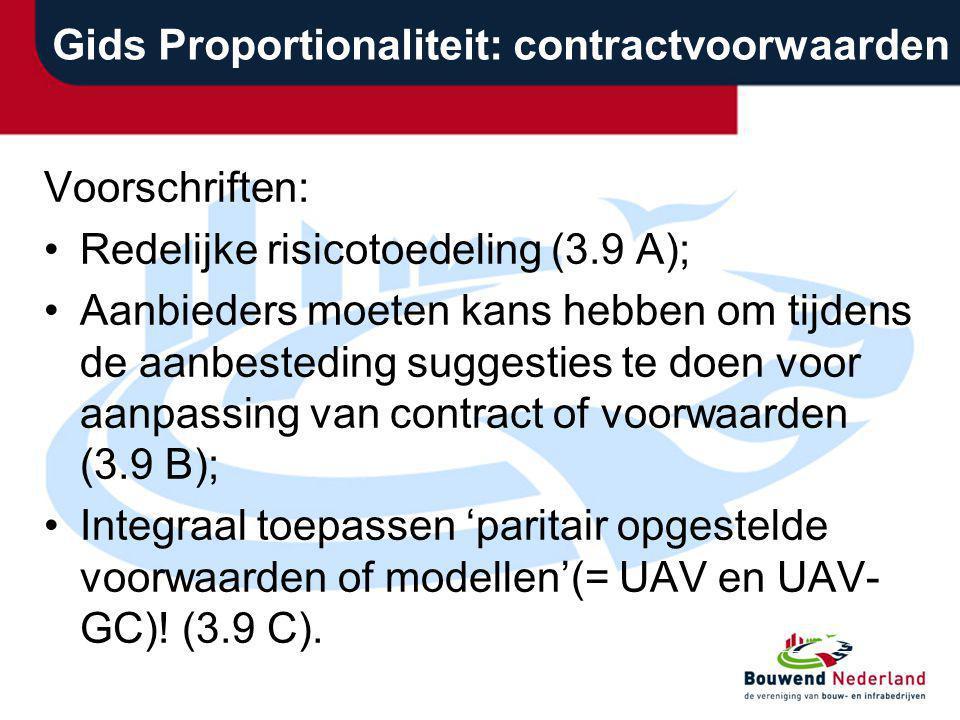 Gids Proportionaliteit: contractvoorwaarden Voorschriften: Redelijke risicotoedeling (3.9 A); Aanbieders moeten kans hebben om tijdens de aanbesteding
