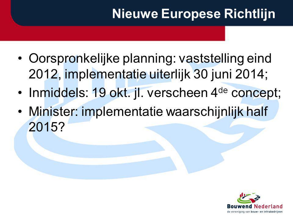 Nieuwe Europese Richtlijn Oorspronkelijke planning: vaststelling eind 2012, implementatie uiterlijk 30 juni 2014; Inmiddels: 19 okt. jl. verscheen 4 d