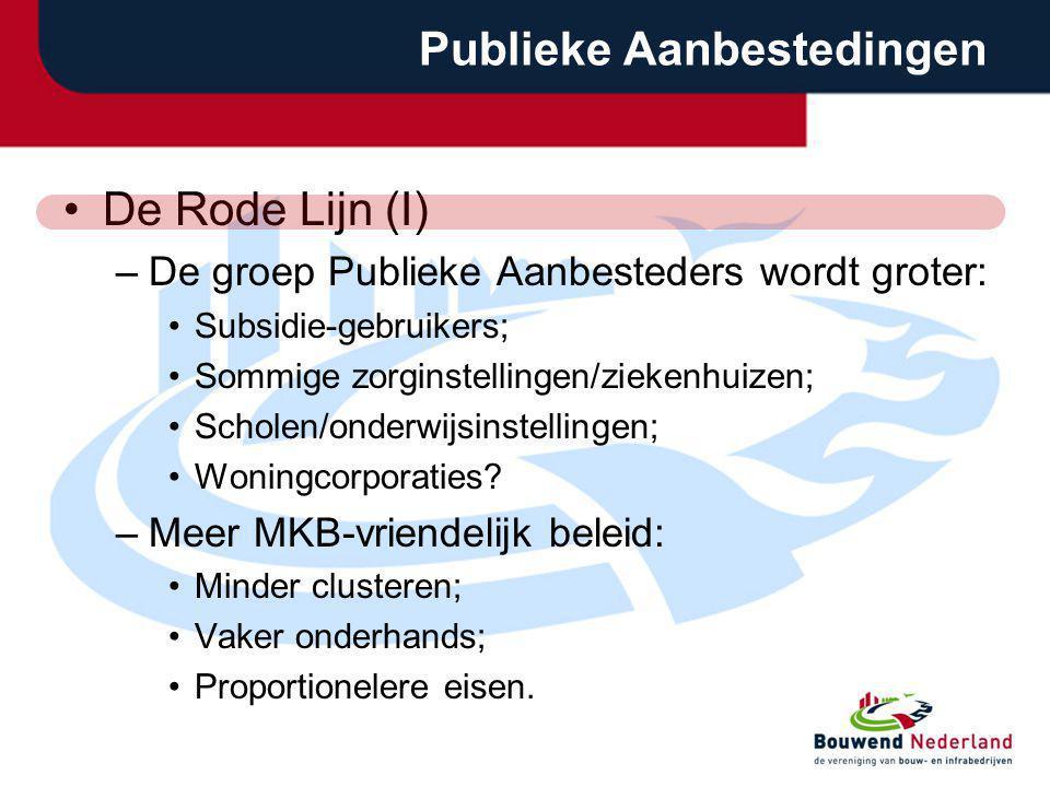 Publieke Aanbestedingen De Rode Lijn (I) –De groep Publieke Aanbesteders wordt groter: Subsidie-gebruikers; Sommige zorginstellingen/ziekenhuizen; Sch