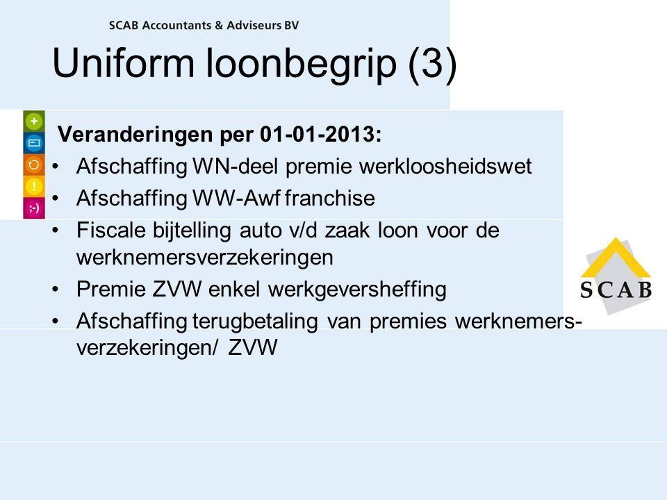 Veranderingen per 01-01-2013: Afschaffing WN-deel premie werkloosheidswet Afschaffing WW-Awf franchise Fiscale bijtelling auto v/d zaak loon voor de w