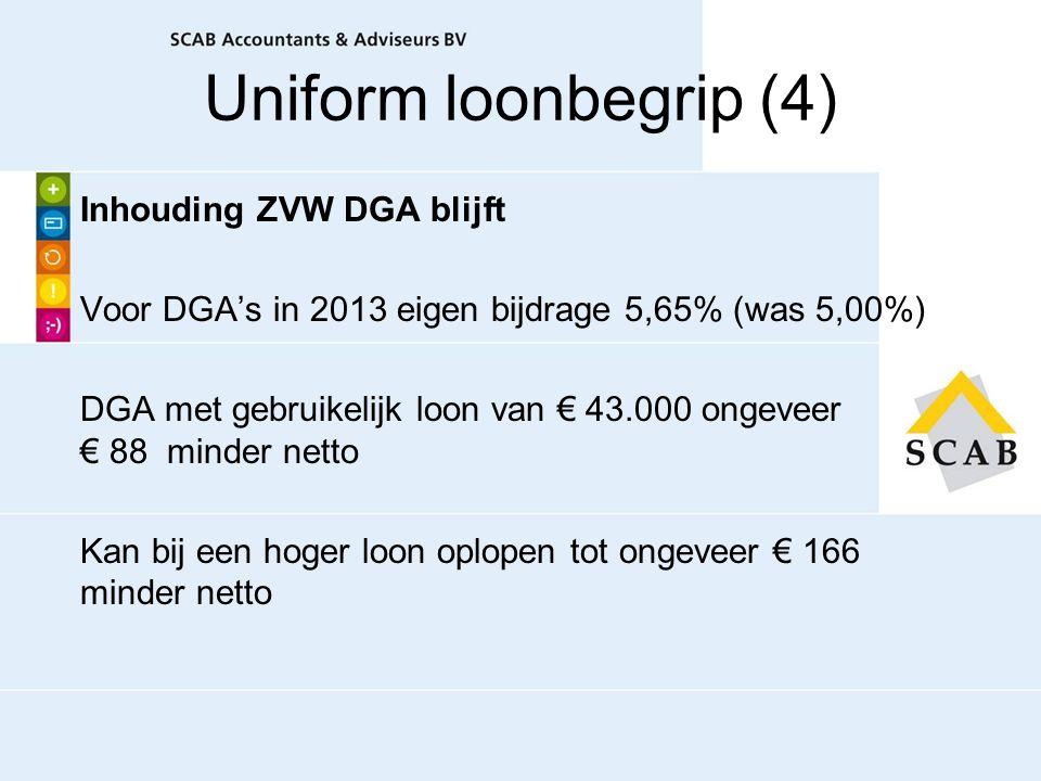 Uniform loonbegrip (4) Inhouding ZVW DGA blijft Voor DGA's in 2013 eigen bijdrage 5,65% (was 5,00%) DGA met gebruikelijk loon van € 43.000 ongeveer €
