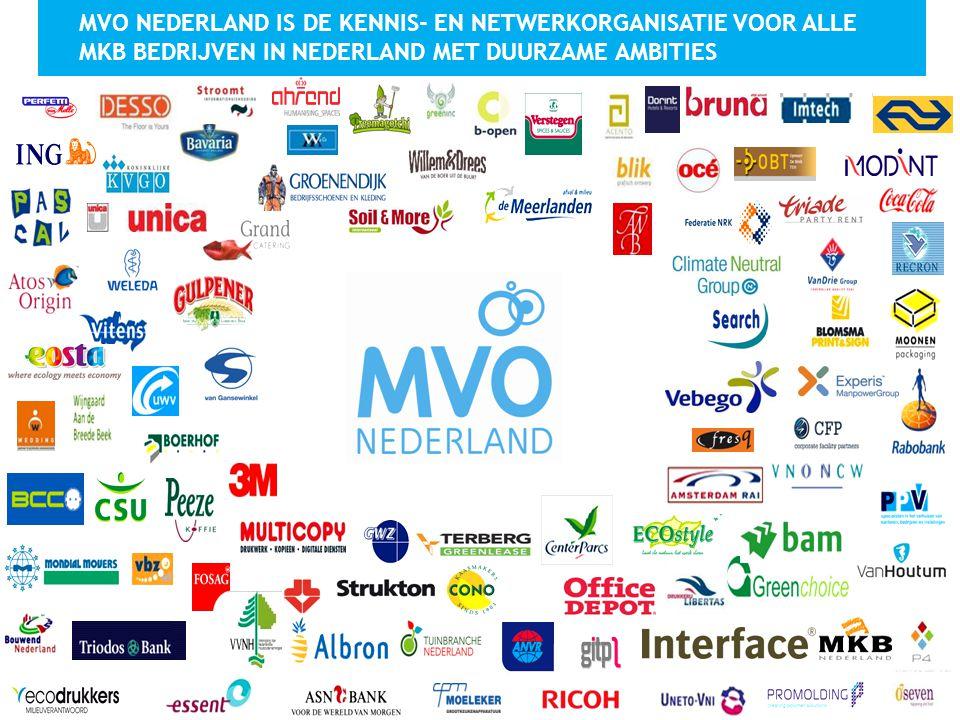 MVO NEDERLAND IS DE KENNIS- EN NETWERKORGANISATIE VOOR ALLE MKB BEDRIJVEN IN NEDERLAND MET DUURZAME AMBITIES
