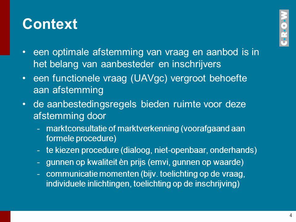 Context een optimale afstemming van vraag en aanbod is in het belang van aanbesteder en inschrijvers een functionele vraag (UAVgc) vergroot behoefte a