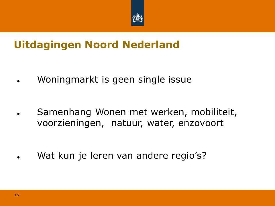 15 Uitdagingen Noord Nederland Woningmarkt is geen single issue Samenhang Wonen met werken, mobiliteit, voorzieningen, natuur, water, enzovoort Wat kun je leren van andere regio's