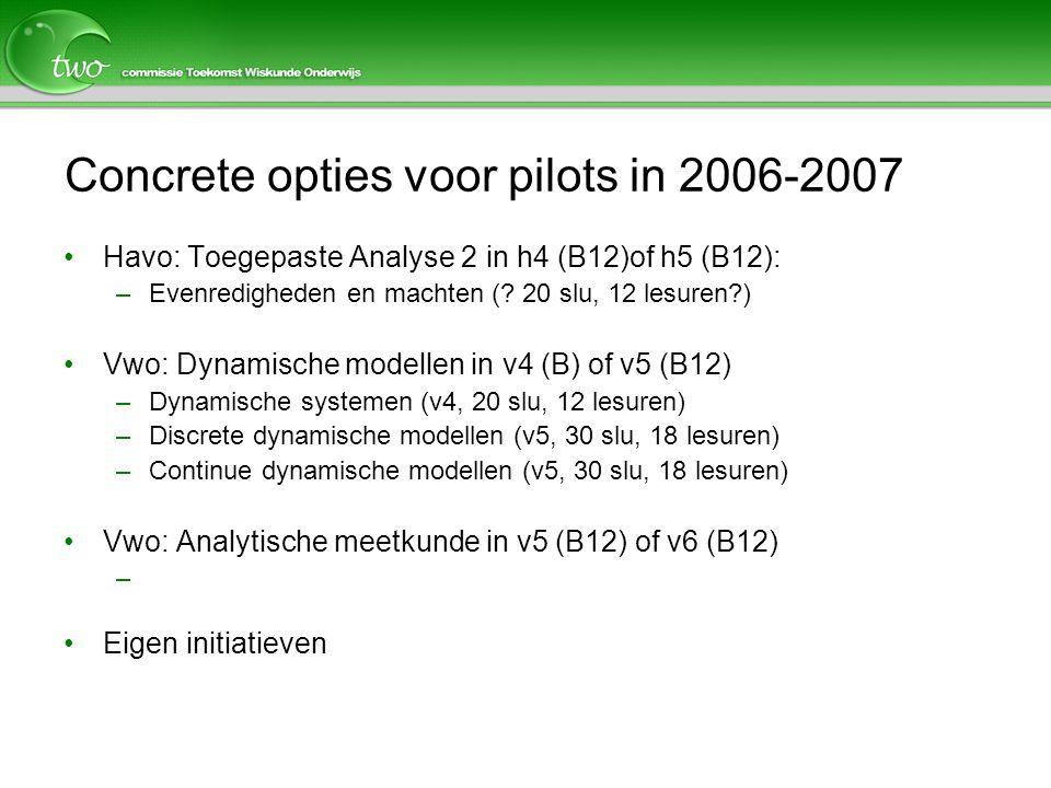 Concrete opties voor pilots in 2006-2007 Havo: Toegepaste Analyse 2 in h4 (B12)of h5 (B12): –Evenredigheden en machten (.