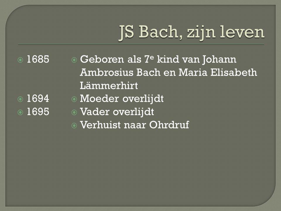  1685  1694  1695  Geboren als 7 e kind van Johann Ambrosius Bach en Maria Elisabeth Lämmerhirt  Moeder overlijdt  Vader overlijdt  Verhuist naar Ohrdruf