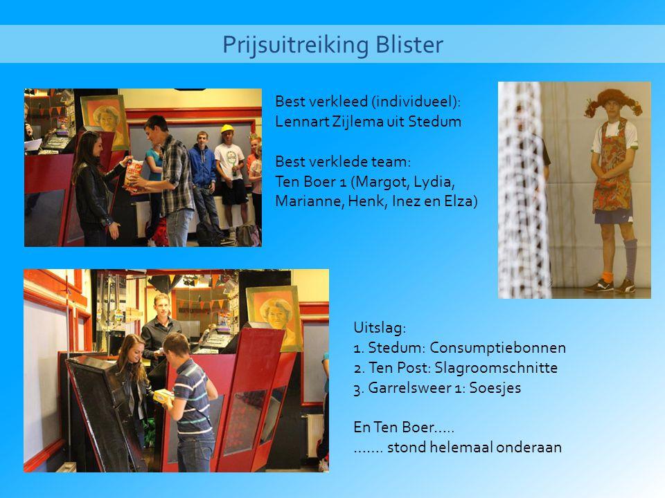 Prijsuitreiking Blister Best verkleed (individueel): Lennart Zijlema uit Stedum Best verklede team: Ten Boer 1 (Margot, Lydia, Marianne, Henk, Inez en Elza) Uitslag: 1.