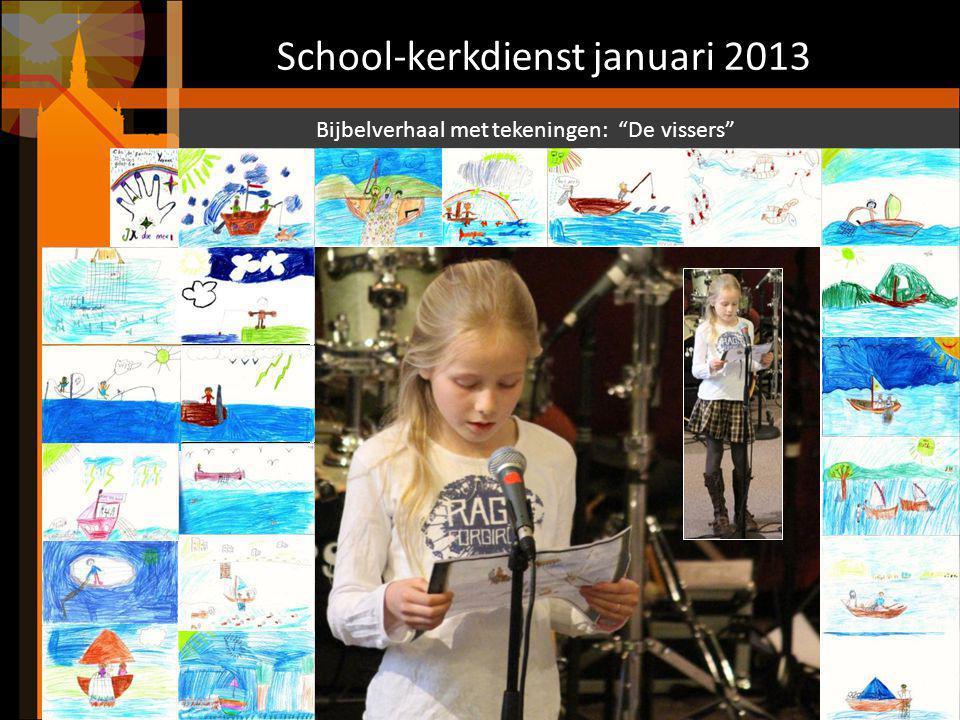 School-kerkdienst januari 2013 De kinderen van de nevendienst komen terug en dankgebed en voorbeden.
