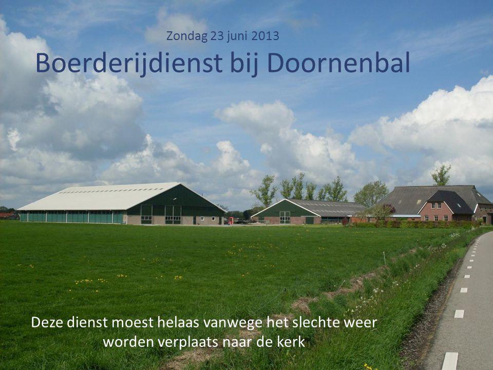Zondag 23 juni 2013 Boerderijdienst bij Doornenbal Deze dienst moest helaas vanwege het slechte weer worden verplaats naar de kerk