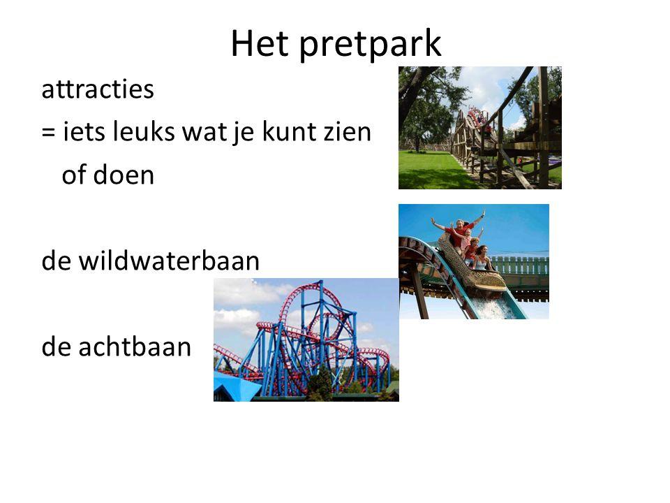 Het pretpark attracties = iets leuks wat je kunt zien of doen de wildwaterbaan de achtbaan
