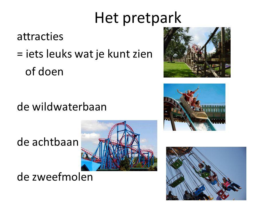 Het pretpark attracties = iets leuks wat je kunt zien of doen de wildwaterbaan de achtbaan de zweefmolen