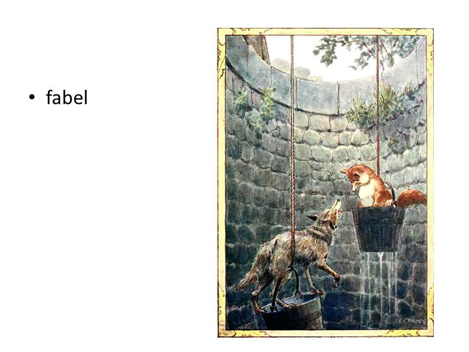 = een verhaal, door mensen bedacht, met pratende dieren. Je leert iets van het verhaal.