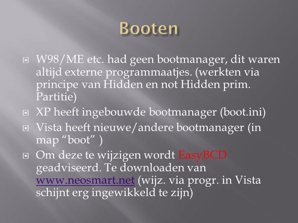  W98/ME etc. had geen bootmanager, dit waren altijd externe programmaatjes. (werkten via principe van Hidden en not Hidden prim. Partitie)  XP heeft