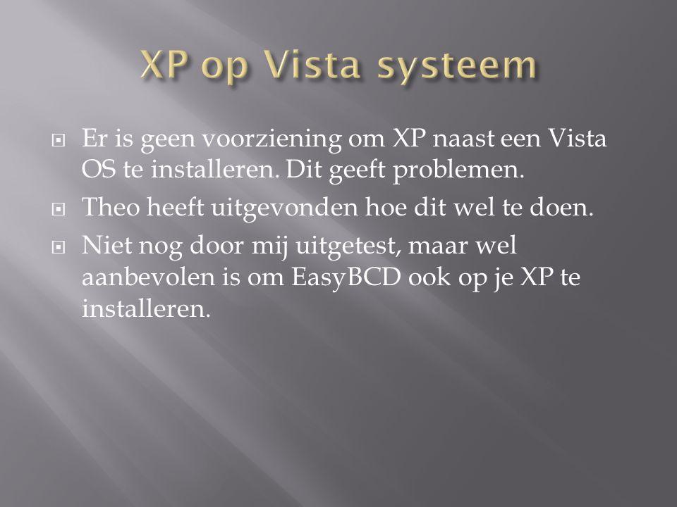  Er is geen voorziening om XP naast een Vista OS te installeren. Dit geeft problemen.  Theo heeft uitgevonden hoe dit wel te doen.  Niet nog door m