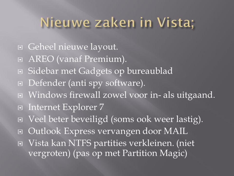  Geheel nieuwe layout.  AREO (vanaf Premium).  Sidebar met Gadgets op bureaublad  Defender (anti spy software).  Windows firewall zowel voor in-