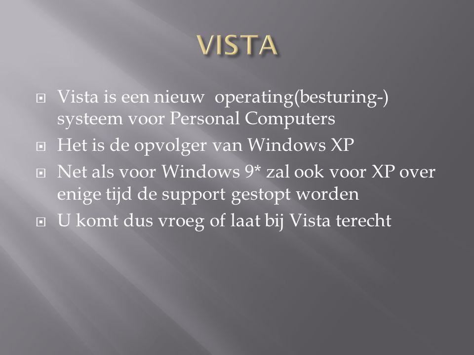  Vista is een nieuw operating(besturing-) systeem voor Personal Computers  Het is de opvolger van Windows XP  Net als voor Windows 9* zal ook voor