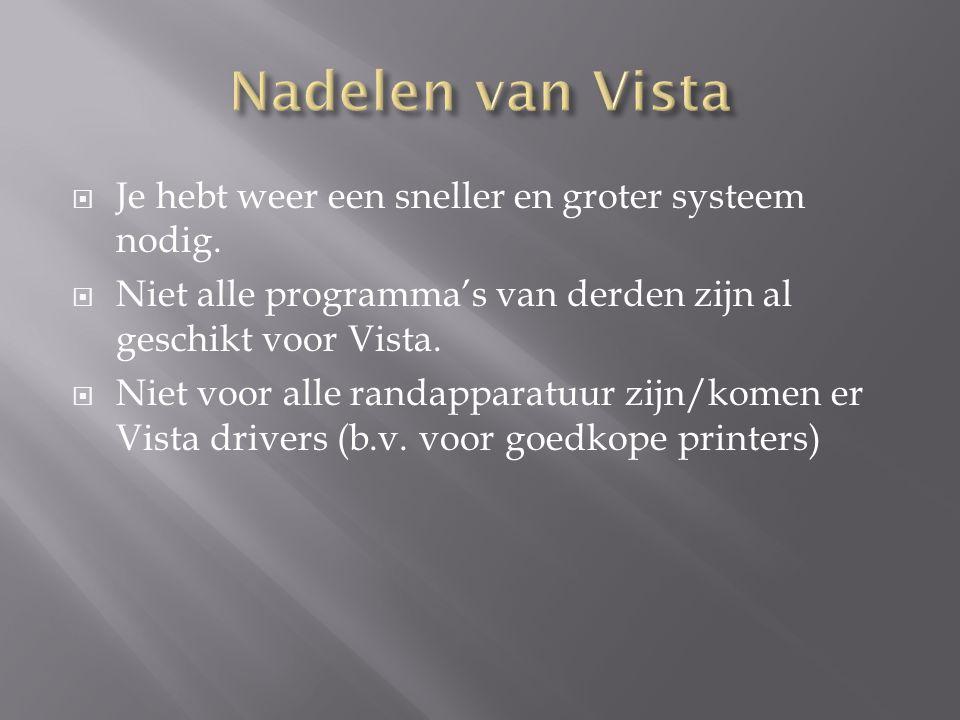  Je hebt weer een sneller en groter systeem nodig.  Niet alle programma's van derden zijn al geschikt voor Vista.  Niet voor alle randapparatuur zi