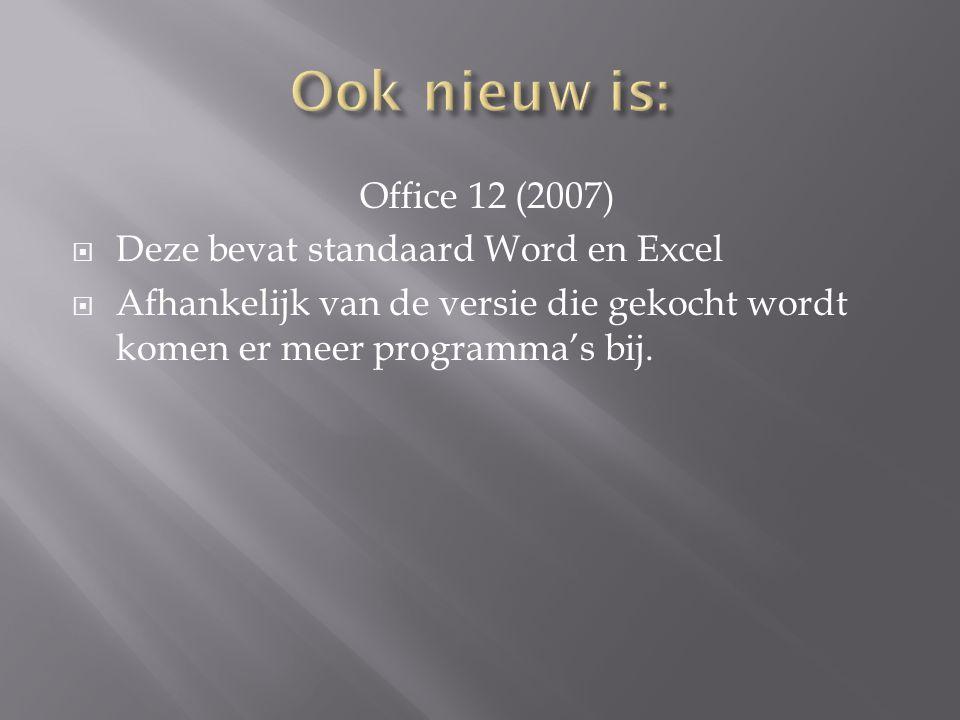 Office 12 (2007)  Deze bevat standaard Word en Excel  Afhankelijk van de versie die gekocht wordt komen er meer programma's bij.