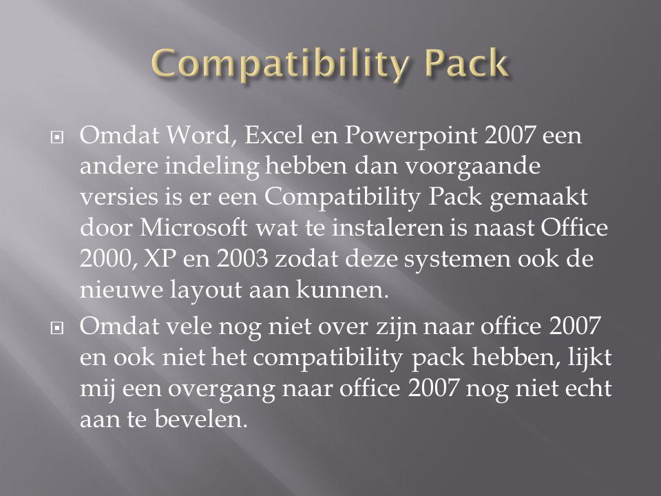  Omdat Word, Excel en Powerpoint 2007 een andere indeling hebben dan voorgaande versies is er een Compatibility Pack gemaakt door Microsoft wat te in