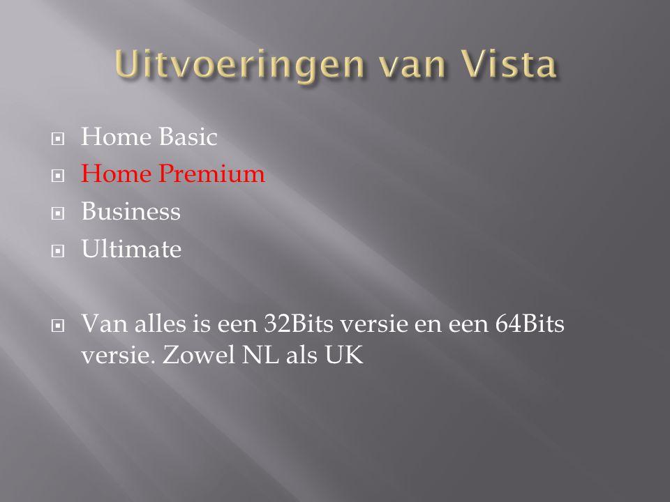  Home Basic  Home Premium  Business  Ultimate  Van alles is een 32Bits versie en een 64Bits versie. Zowel NL als UK
