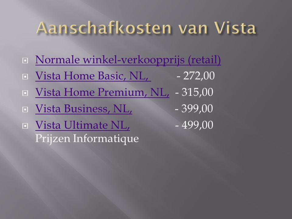  Normale winkel-verkoopprijs (retail) Normale winkel-verkoopprijs (retail)  Vista Home Basic, NL, - 272,00 Vista Home Basic, NL,  Vista Home Premiu