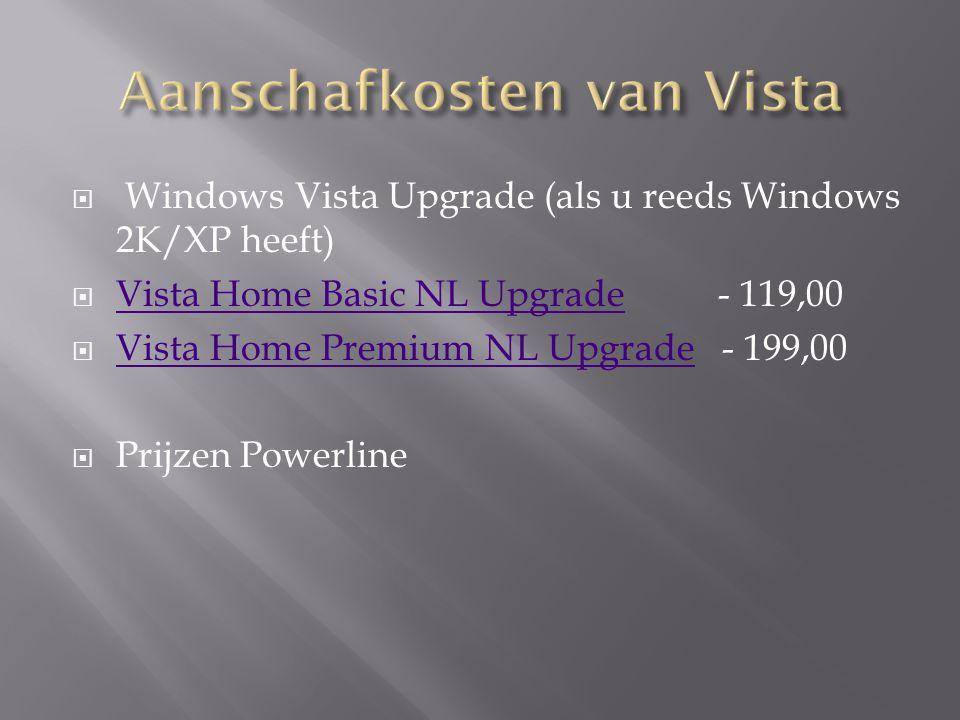  Windows Vista (OnePack - exclusief support bij Microsoft)  Vista Home Basic NL 32B 1pack - 89,95 Vista Home Basic NL 32B 1pack  Vista Home Premium NL 32B 1pck - 99,95 Vista Home Premium NL 32B 1pck  Vista Business NL 32B 1Pack - 149,95 Vista Business NL 32B 1Pack  Vista Ultimate NL 32B 1pack - 175,00 Vista Ultimate NL 32B 1pack  Prijzen Powerline  Bij Informatique heet dit in Box
