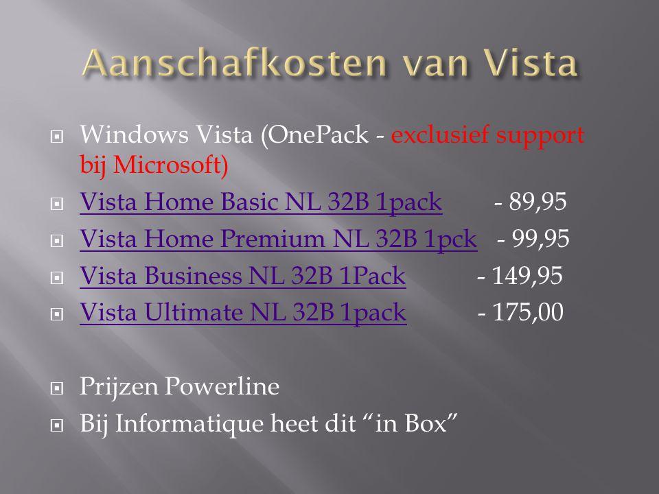  Behoorlijke processor (> 1,5 Mhz)  Voldoende geheugen (>1GB)  Voldoende schijfgeheugen (>15GB vrij)  Goede grafische kaart die directX9 aankan  DVD speler  Test of uw systeem geschikt is met de Windows Upgrade Advisor.