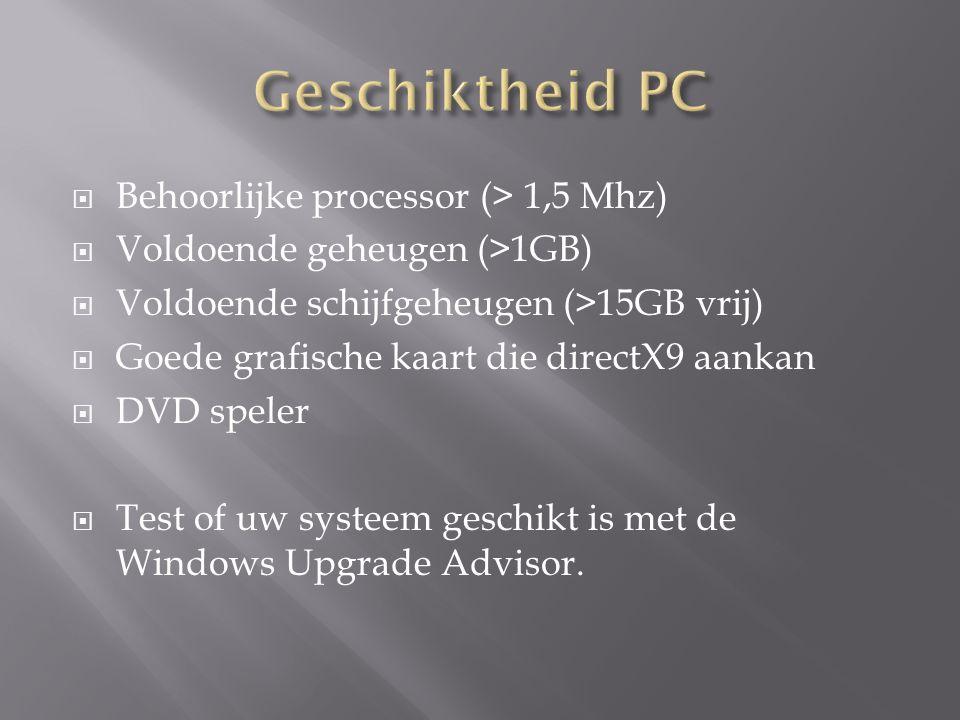  Behoorlijke processor (> 1,5 Mhz)  Voldoende geheugen (>1GB)  Voldoende schijfgeheugen (>15GB vrij)  Goede grafische kaart die directX9 aankan 