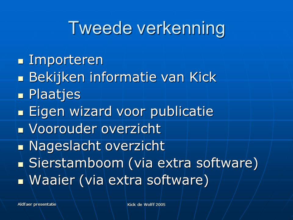 Aldfaer presentatie Kick de Wolff 2005 Tweede verkenning Importeren Importeren Bekijken informatie van Kick Bekijken informatie van Kick Plaatjes Plaa