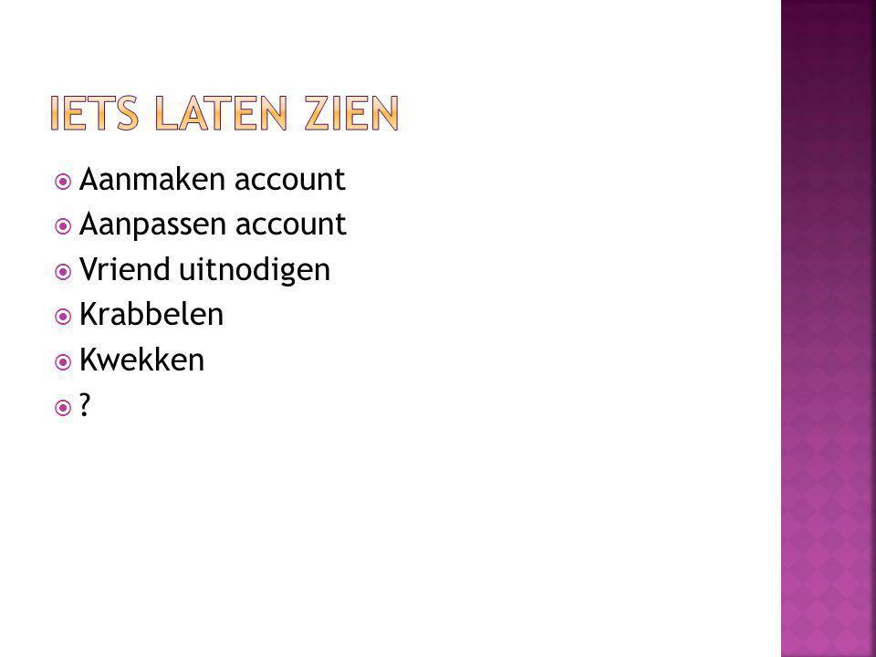 Aanmaken account  Aanpassen account  Vriend uitnodigen  Krabbelen  Kwekken  ?