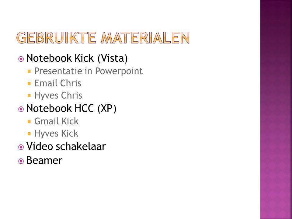  Notebook Kick (Vista)  Presentatie in Powerpoint  Email Chris  Hyves Chris  Notebook HCC (XP)  Gmail Kick  Hyves Kick  Video schakelaar  Beamer
