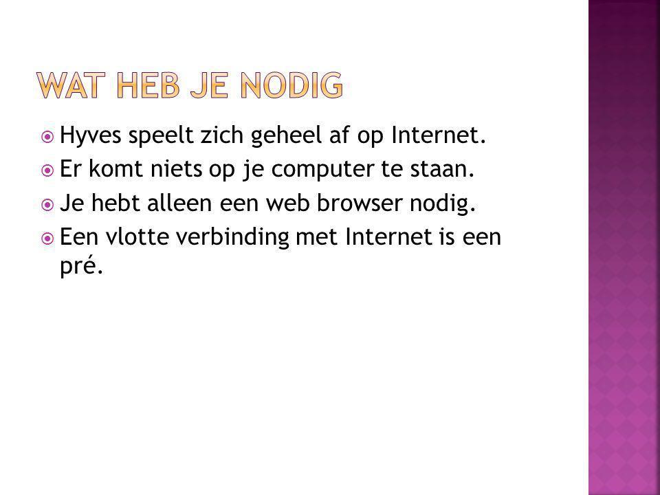  Hyves speelt zich geheel af op Internet. Er komt niets op je computer te staan.