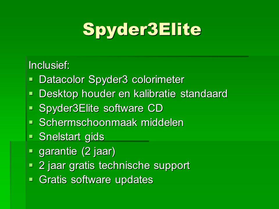 Spyder3Elite Inclusief:  Datacolor Spyder3 colorimeter  Desktop houder en kalibratie standaard  Spyder3Elite software CD  Schermschoonmaak middele
