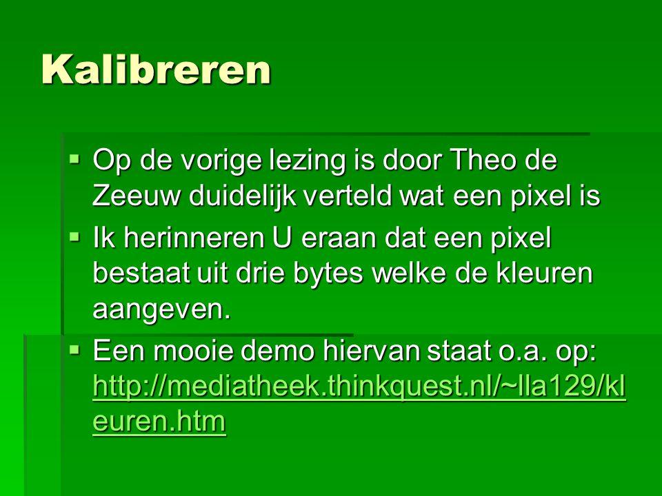 Kalibreren  Op de vorige lezing is door Theo de Zeeuw duidelijk verteld wat een pixel is  Ik herinneren U eraan dat een pixel bestaat uit drie bytes