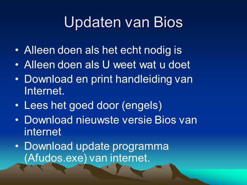 Het updaten van een AMI Bios Start van Boot floppy Het ophalen van de oude Bios Afudos /ohuidige.rom Het laden van de nieuwe Bios Afudos /ip4p8E009.rom