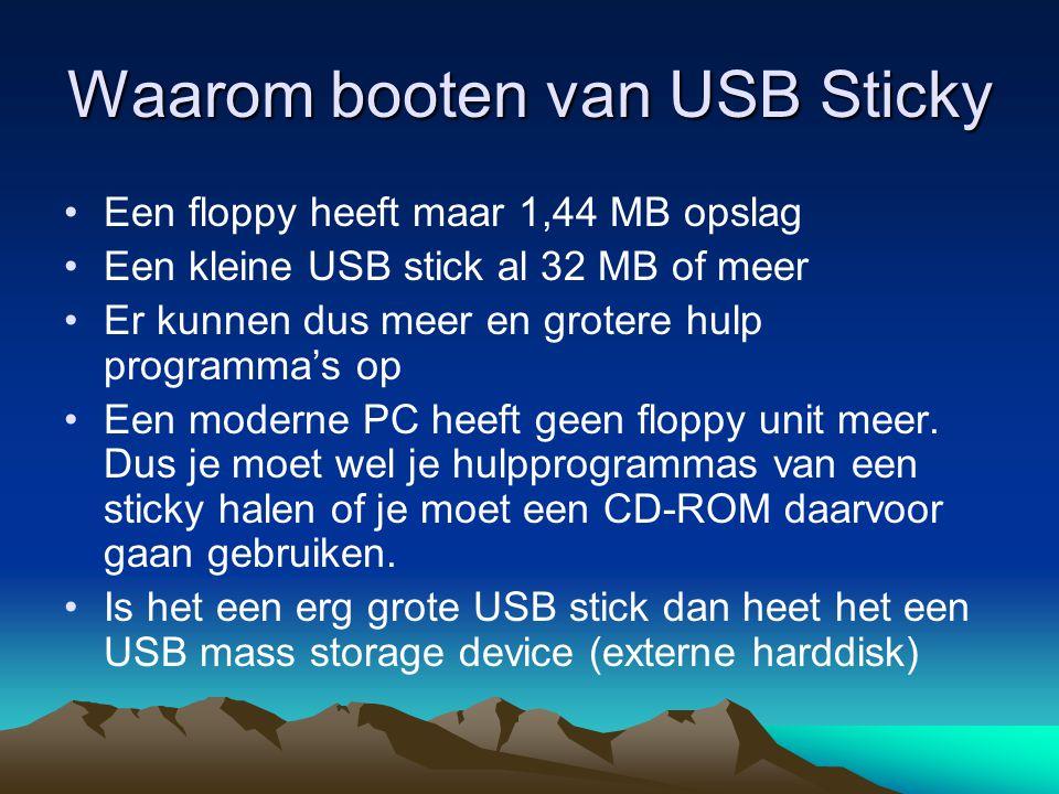 Booten van USB sticky Voorbeeld met andere systeem