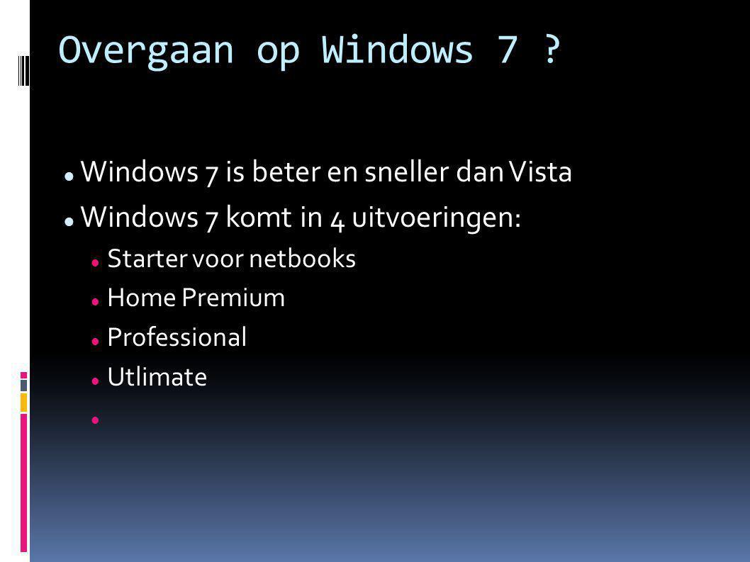 Windows 7 Professional en Ultimate hebben extra's die alleen de echte hobbyist c.q.